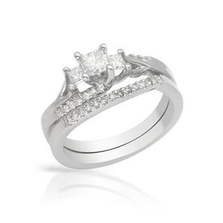 14k White Gold 0.73ct TDW Princess-cut Diamond Bridal Set