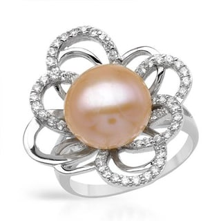 Ring with 1.30ct TW Cubic Zirconia and 11.5mm Freshwater Pearl of 925 Sterling Silver