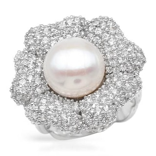 Ring with 6ct TW Cubic Zirconia and 12mm Freshwater Pearl Crafted in .925 Sterling Silver