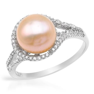 Ring with 1.7ct TW Cubic Zirconia and 10mm Freshwater Pearl .925 Sterling Silver