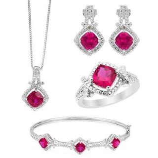 Brass Created Ruby 10 TGW Jewelry set - Earrings, Necklace, Bracelet and Ring