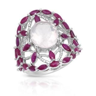 Ring with 7ct TW Quartz and Rubies in .925 Sterling Silver