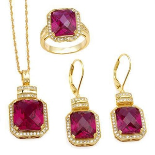 Celine F Jewelry set - Earrings with 40.09ct TW Cubic Zirconia and Created Rubies in 14K/925 Gold-pl