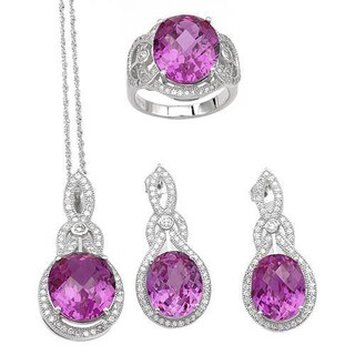 Celine F Jewelry set - Earrings with 38.99ct TW Cubic Zirconia and Created Sapphires in .925 Silver