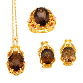 Celine F Jewelry set - Earrings with 29.99ct TW Cubic Zirconia and Topazes in 14K/925 Gold-plated Si