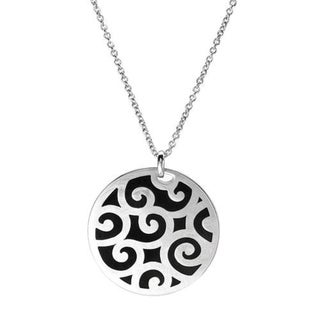 Esprit Sterling Silver and Black Enamel Pendant Necklace