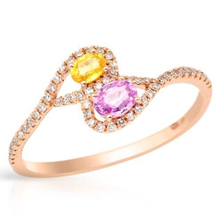 Vida Ring with 0.51ct TW Diamonds and Sapphires Crafted in 14K Rose Gold