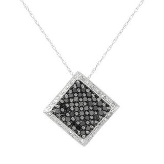 10k White Gold 0.76ct TW Black and White Diamond Square Pendant Necklace