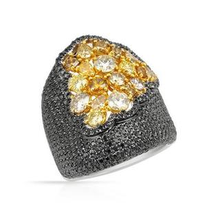 Ring with 4.9ct TW Natural Fancy Yellow Diamonds in 14K Two-tone Gold