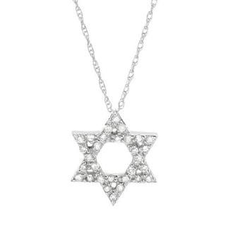 14K White Gold Bold Star of David Necklace with Diamonds