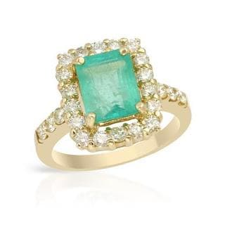 Cocktail Ring with 3.49ct TW Diamonds and Emerald in 14K Yellow Gold