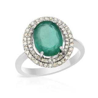 Cocktail Ring with 3.69ct TW Diamonds and Emerald in 14K White Gold