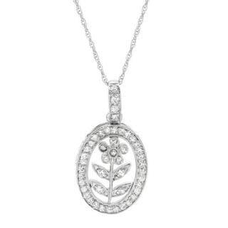14-K White Gold Diamonds Flower Oval Necklace