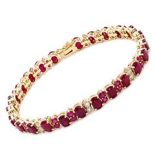 Bracelet with 19.18ct TW Diamonds, Rubies in 14K Yellow Gold