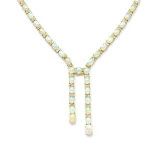 14K Yellow Gold 22.37ct TW Diamond and Opals Necklace