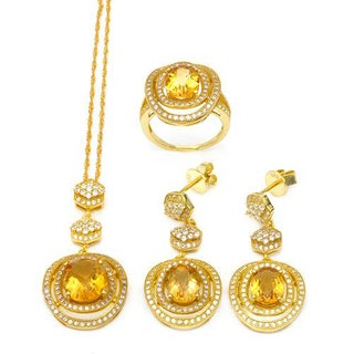 Celine F Jewelry set - Earrings with 17.71ct TW Citrines and Cubic Zirconia in 14K/925 Gold-plated S