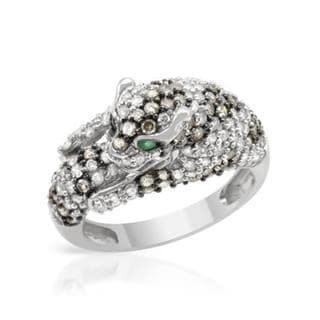 14k White Gold 1.96 TDW Diamond and Emerald Jaguar Cat Fashion Ring size 7