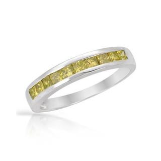 Channel Ring with 0.6ct TW Princess-cut Diamonds Crafted in White Gold