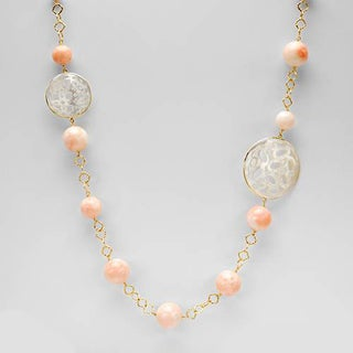 Enzo Liverino 18k Yellow Gold Coral and Mother of Pearl Italian Necklace