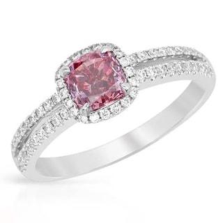 Ring with 1.20ct TW Genuine Diamonds 18K White Gold