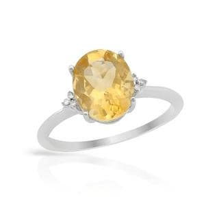 Ring with 2 1/4ct TW Citrine and Diamonds in 14K White Gold