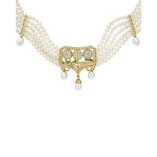 MASRIERA Necklace with 1.00ct TW Diamonds, 6.5-7mm Freshwater Pearls Two-tone Enamel a