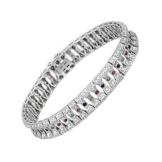 18K White Gold 3 1/2ct TW Diamond, Emerald, Ruby and Sapphire Bracelet