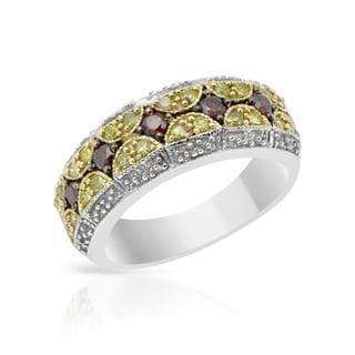 Ring with 0.5ct TW Fancy Dark Red enhanced, Fancy Intense Yellow enhanced Diamonds in 925 S