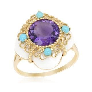 Ring with Agate Amethyst/ Turquoises 14K Yellow Gold