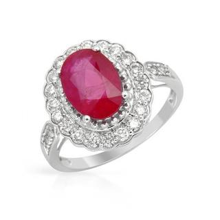 Ring with 3.1ct TW Diamonds and Ruby of 14K White Gold