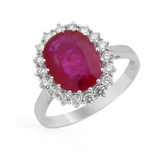 Ring with 4.35ct TW Diamonds and Ruby in 14K White Gold