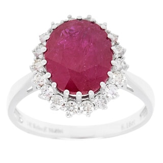 Ring with 5.65ct TW Diamonds and Ruby in 14K White Gold