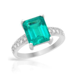 Ring with 3.34ct TW Diamonds and Created Emerald in 14K White Gold
