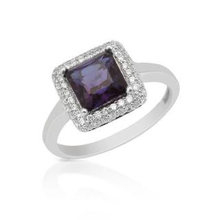Ring with 2.50ct TW Russian Lab Created Color Change Alexandrite and Diamonds in 18K White Gol