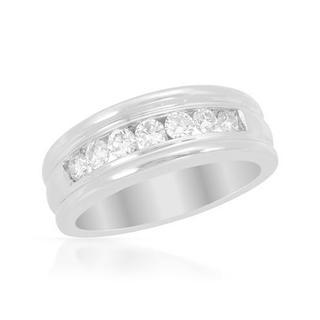 Men's 14k White Gold 0.81ct TDW Diamond Wedding Band