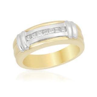Men's 14k Two-tone Gold 0.42 TDW Diamond Wedding Band