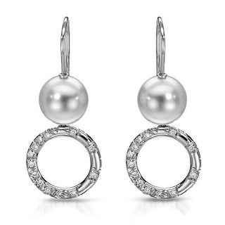 Mikimoto! Earrings 0.80ct TW G/VVS Diamonds and 11-11.5mm South Sea Pearls of 18K Gold
