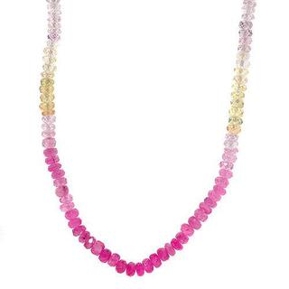 Necklace with 80.00ct TW Genuine Sapphires of 18K Yellow Gold