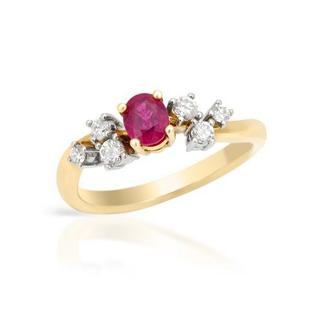 Ring with 0.79ct TW Diamonds and Ruby in 900/18K Platinum and gold