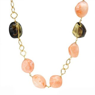 Enzo Liverino Necklace with 102.7ct TW Amethysts, Corals and Quartz in 18K Yellow Gold