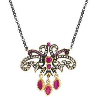 Made in Turkey Necklace with 4.65ct TW Cubic Zirconia and Created Rubies in 925 Sterling Silver