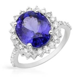 Ring with 6.97ct TW Genuine Diamonds and Tanzanite in 14K White Gold