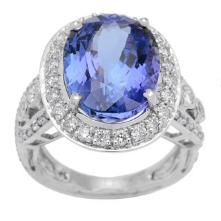 18K White Gold 11 3/4ct TW Diamonds and Tanzanite Ring