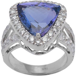 Ring with 9.38ct TW Genuine Diamonds and Tanzanite in 18K White Gold