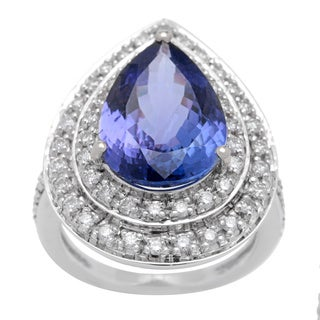 Ring with 7.26ct TW Diamonds and Tanzanite Crafted in 18K White Gold