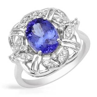 Ring with 2.35ct TW Genuine Diamonds and Tanzanite in 14K White Gold