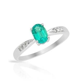 Ring with 0.71ct TW Diamonds and Created Emerald in 14K White Gold