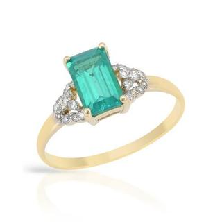 Ring with 1.4ct TW Diamonds and Created Emerald 14K Yellow Gold