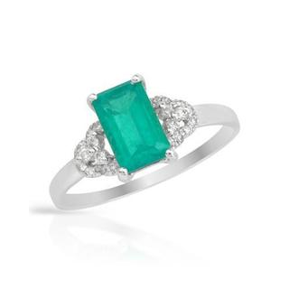Ring with 1.35ct TW Diamonds and Created Emerald in 14K White Gold