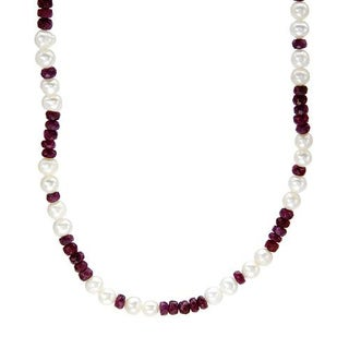 Sterling Silver 16.25ct TGW Ruby/ Pearl Necklace